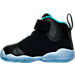 Left view of Girls' Toddler Jordan Jumpman Team II Premium Basketball Shoes in Black/Rio Teal/Metallic Gold