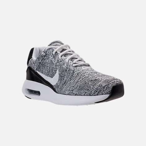 Three Quarter view of Men's Nike Air Max Modern Flyknit Running Shoes in White/White/Black