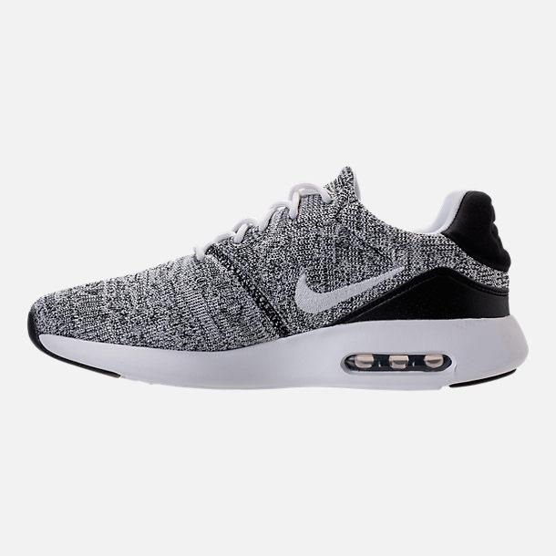 Left view of Men's Nike Air Max Modern Flyknit Running Shoes in White/White/Black