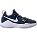 Right view of Boys' Grade School Nike PG 1 Basketball Shoes in Obsidian/White/University Gold