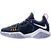 Left view of Boys' Grade School Nike PG 1 Basketball Shoes in Obsidian/White/University Gold