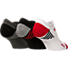 Front view of Youth Sof Sole Low Perforated Stripe Socks in Black/Charcoal/White/Red