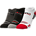 Back view of Youth Sof Sole Low Perforated Stripe Socks in Black/Charcoal/White/Red