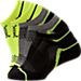 Back view of Boys' Finish Line Performance Socks in Black/Metallic Grey/Yellow