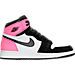 Right view of Girls' Grade School Air Jordan Retro 1 High OG (3.5y - 9.5y) Basketball Shoes in Black/Hyper Pink/White