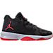 Right view of Boys' Grade School Jordan B. Fly Basketball Shoes in Black/University Red/Wolf Grey