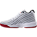 Left view of Boys' Grade School Jordan B. Fly Basketball Shoes in White/Gym Red/Black