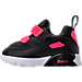 Left view of Girls' Toddler Nike Air Max Tiny 90 Running Shoes in Black/Racer Pink/White