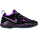 Right view of Boys' Preschool Nike PG 1 Basketball Shoes in Black/Court Purple/Clear Jade