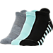 Front view of Women's Finish Line Performance 3-Pack Low-Cut Tab Socks in Grey/Mint/Black