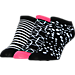 Front view of Women's Finish Line No-Show 3-Pack Socks in Black/Pink/White Print