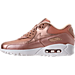 Left view of Women's Nike Air Max 90 Premium Running Shoes in Metallic Red Bronze/Summit White