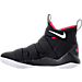 Left view of Men's Nike LeBron Soldier 11 Basketball Shoes in Black/White