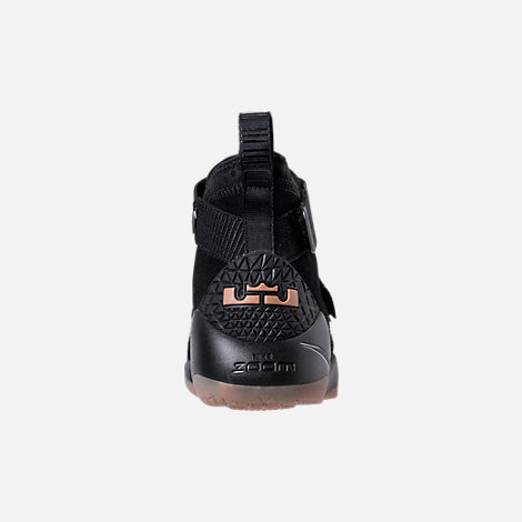 Back view of Men's Nike LeBron Soldier 11 Basketball Shoes in Black/Black/Gum