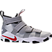 Right view of Men's Nike LeBron Soldier XI SFG Basketball Shoes in Metallic Silver/Varsity Red/White