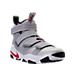 Three Quarter view of Men's Nike LeBron Soldier XI SFG Basketball Shoes in Metallic Silver/Varsity Red/White
