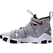 Left view of Men's Nike LeBron Soldier XI SFG Basketball Shoes in Metallic Silver/Varsity Red/White