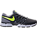 Right view of Men's Nike Lunar Fingertrap Wide Width 4E Training Shoes in Dark Grey/Volt/Stealth