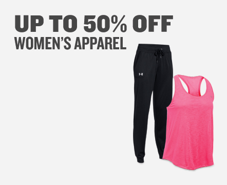 Women's Apparel up to 50% Off.