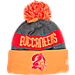 Front view of New Era Tampa Bay Buccaneers NFL Sideline Classic Pom Knit Hat in Team Colors