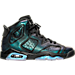 Right view of Boys' Grade School Air Jordan Retro 6 Basketball Shoes in Black/White/Black Hornet