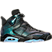 Right view of Men's Air Jordan Retro 6 Basketball Shoes in Black/Black/White