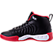 Left view of Boys' Grade School Jordan Jumpman Pro Basketball Shoes in Black/Metallic Silver/Varsity Red