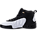 Left view of Boys' Preschool Jordan Jumpman Pro Basketball Shoes in Black/Metallic Gold/White/Black