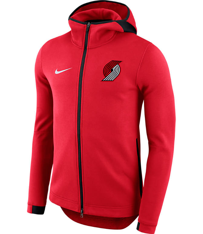 Front view of Men's Nike Portland Trail Blazers NBA Showtime Hoodie in University Red