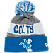 Front view of New Era Indianapolis Colts NFL Sideline Classic Pom Knit Hat in Team Colors