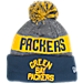 Front view of New Era Green Bay Packers NFL Sideline Classic Pom Knit Hat in Team Colors