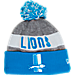 Front view of New Era Detroit Lions NFL Sideline Classic Pom Knit Hat in Team Colors