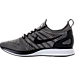 Left view of Men's Nike Air Zoom Mariah Flyknit Racer Running Shoes in Pale Grey/Black/Solar Red