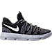 Right view of Boys' Preschool Nike KD 10 Basketball Shoes in Black/White