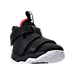 Three Quarter view of Boys' Toddler Nike LeBron Soldier 11 Basketball Shoes in Black/White/University Red