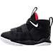 Left view of Boys' Toddler Nike LeBron Soldier 11 Basketball Shoes in Black/White/University Red