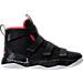 Right view of Boys' Preschool Nike LeBron Soldier 11 Basketball Shoes in Black/White/University Red