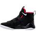 Left view of Boys' Preschool Nike LeBron Soldier 11 Basketball Shoes in Black/White/University Red