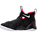 Left view of Boys' Grade School Nike LeBron Soldier 11 Basketball Shoes in Black/White/University Red
