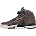 Left view of Girls' Grade School Air Jordan Retro 5 Premium Heiress Collection (3.5y - 9.5y) Basketball Shoes in Black/Light Bone/Metallic Field
