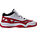 Right view of Boys' Grade School Air Jordan Retro 11 Low IE Basketball Shoes in White/Gym Red/Black