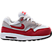 Right view of Boys' Toddler Nike Air Max 1 Casual Running Shoes in White/University Red/Neutral Grey