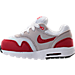 Left view of Boys' Toddler Nike Air Max 1 Casual Running Shoes in White/University Red/Neutral Grey