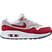 Right view of Boys' Preschool Nike Air Max 1 Running Shoes in White/University Red/Neutral Grey