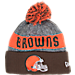 Front view of New Era Cleveland Browns NFL 2016 Sideline Official Sport Knit Hat in Team Colors