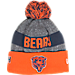 Front view of New Era Chicago Bears NFL Sideline Classic Pom Knit Hat in Team Colors