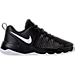 Right view of Boys' Grade School Nike Team Hustle Quick Basketball Shoes in Black/White