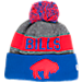Front view of New Era Buffalo Bills NFL Sideline Classic Pom Knit Hat in Team Colors