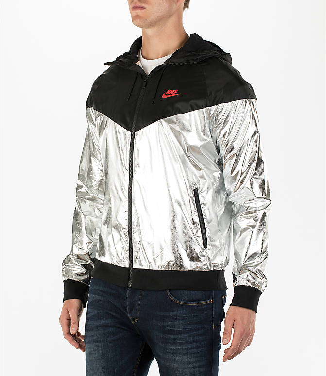 Front Three Quarter view of Men's Nike Sportswear Gold Foil Windrunner Jacket in Black/Silver