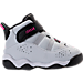 Right view of Girls' Toddler Jordan 6 Rings Basketball Shoes in Pure Platinum/Hyper Pink/Black/White